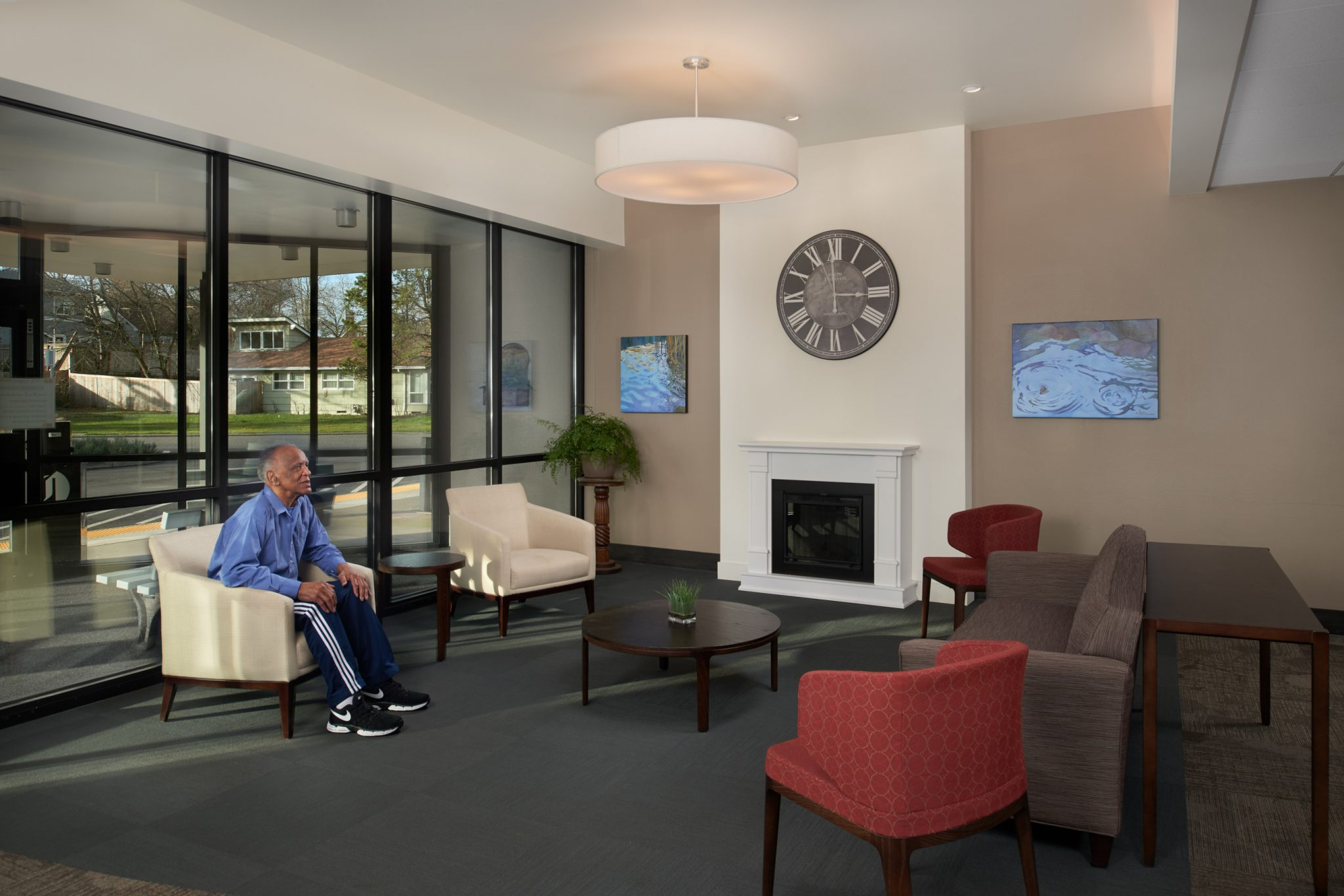 ... The Remodeled Lobby Received New Finishes, Acoustic Treatment,  Lighting, And A Focal Fireplace In Addition To Fresh New Furniture And  Artwork.