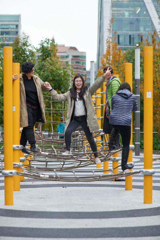 MWA Architects on rope bridge