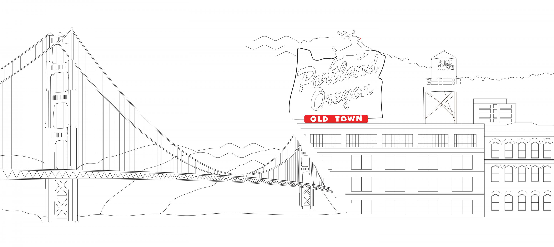 Golden Gate Bridge and Portland Oregon Sign
