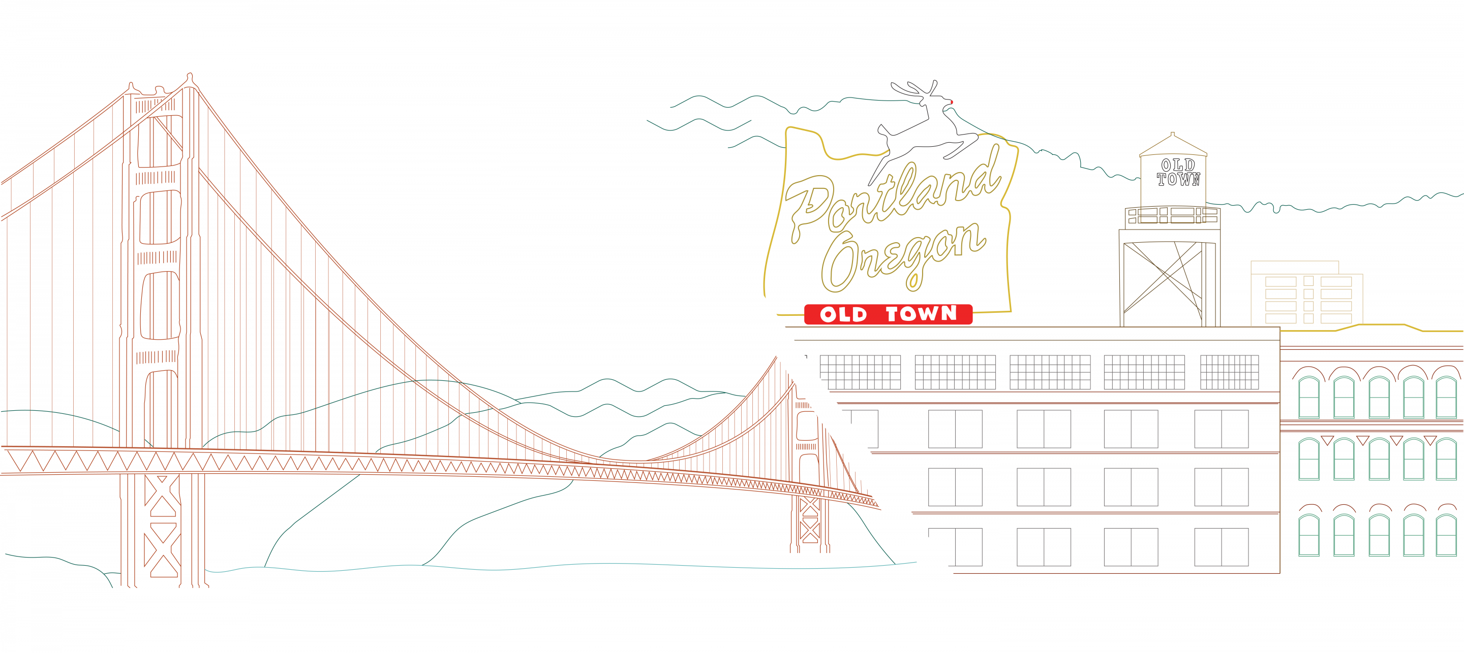 Drawing With Golden Gate Bridge On The Left And Portland On The Right