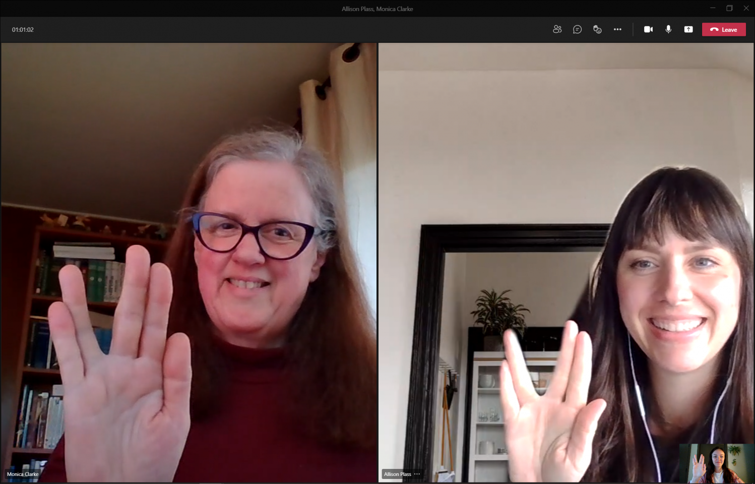 Monica On Video Call With Live Long And Prosper Symbol