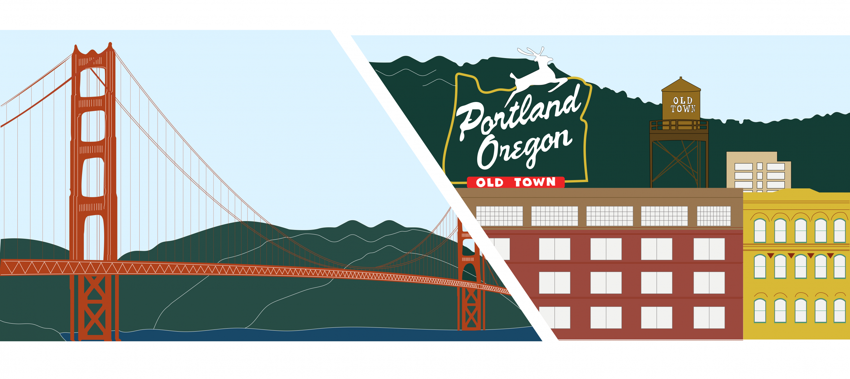 Golden Gate Bridge and Old Town Portland