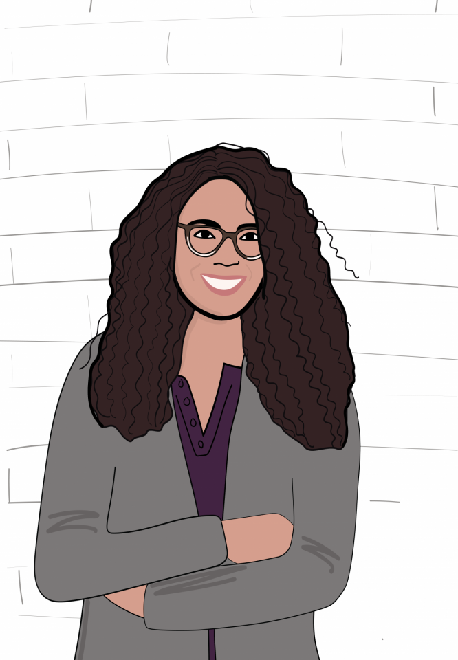 Sophia Willis Is A Designer At MWA. She Has Dark Brown Curly Hair And Wears Glasses.